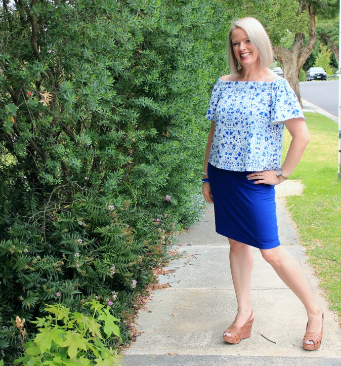 My Summer Style - off the shoulder blue and white print