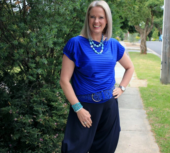 My summer style- navy and cobalt with turquoise accents