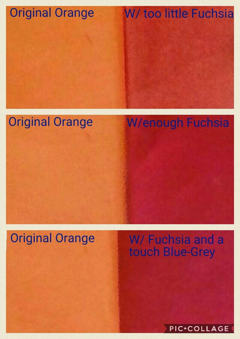 How to overdye orange to a cool red