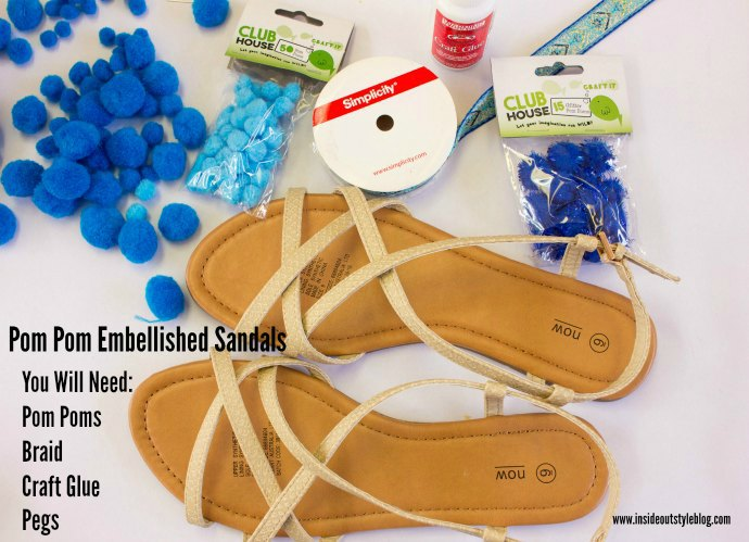 How to make fun embellished pom pom sandals DIY instructions - www.insideoutstyleblog.com