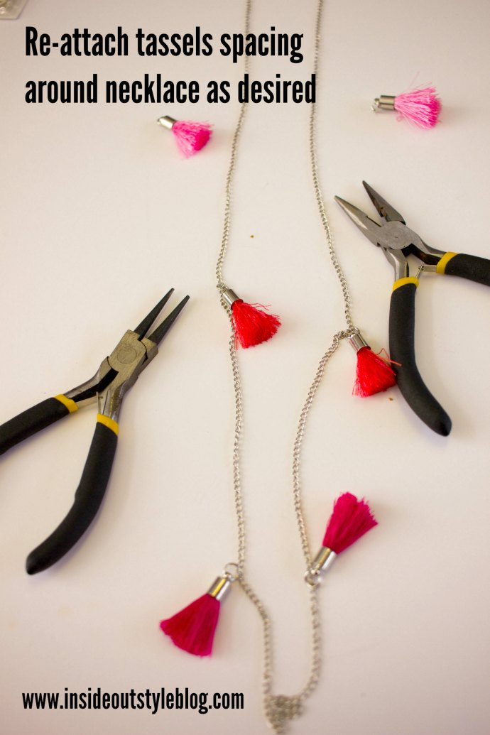 Easy make it yourself instructions for a pom pom and tassel necklace - www.insideoutstyleblog.com