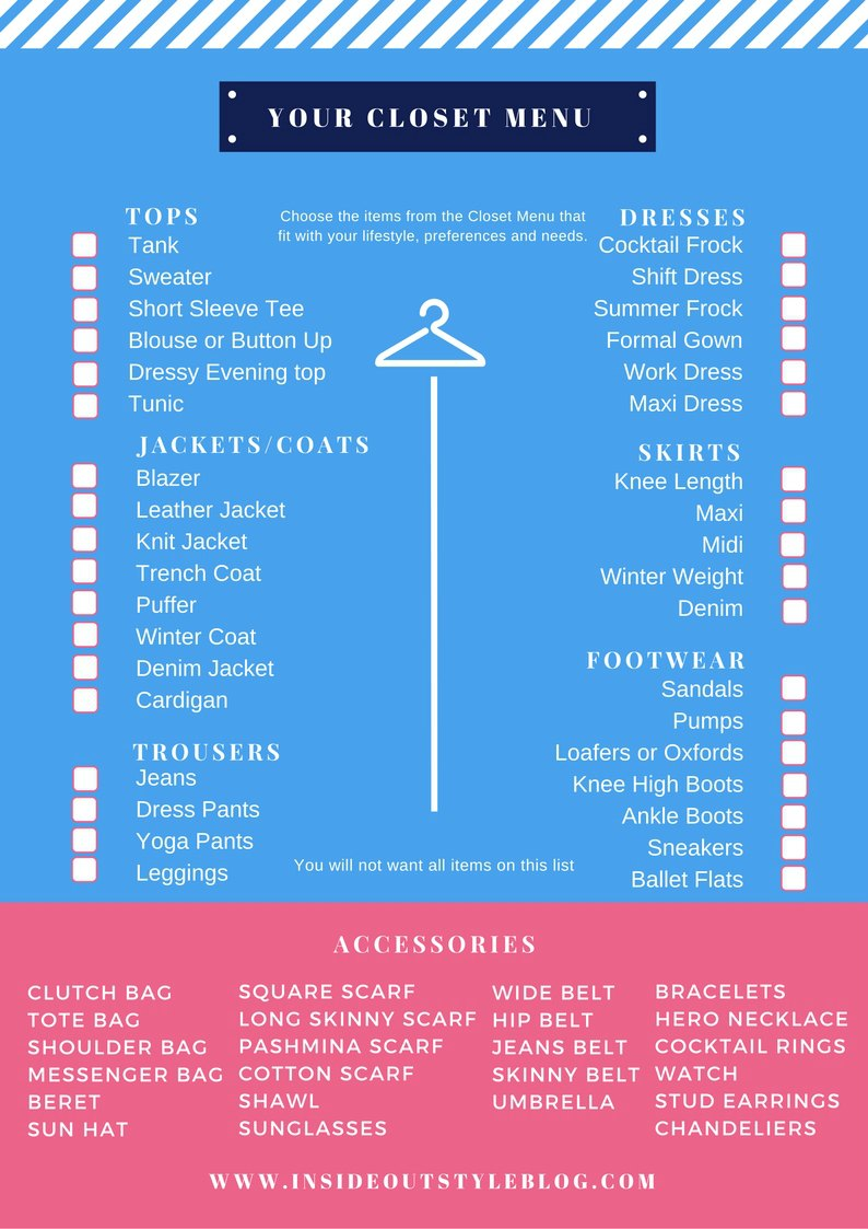 Your closet menu - discover some of the items you may need in your closet with this downloadable printed checklist