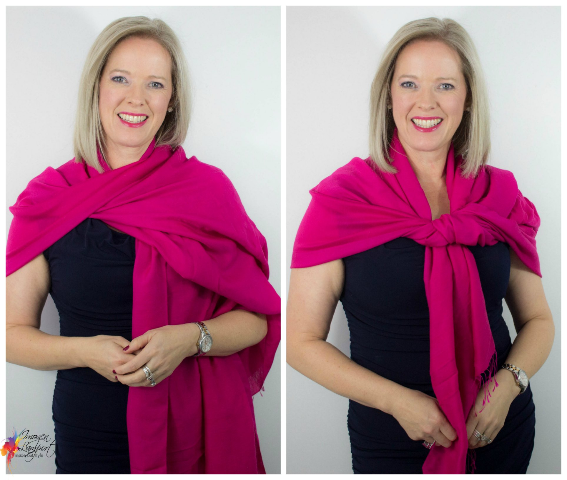 how to wear and tie a pashmina shawl for a more formal occasion