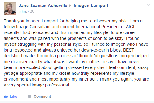Testimonial from Jane Seaman about Imogen Lamport of Inside Out Style Blog
