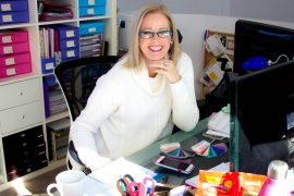 Imogen Lamport at her desk - Creator of Inside Out Style