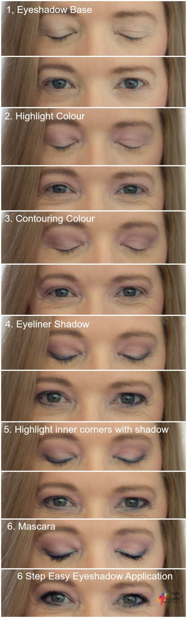 6 Step easy eyeshadow application