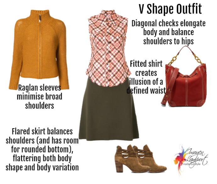 Outfit for a V shape (inverted triangle) body with a protruding bottom
