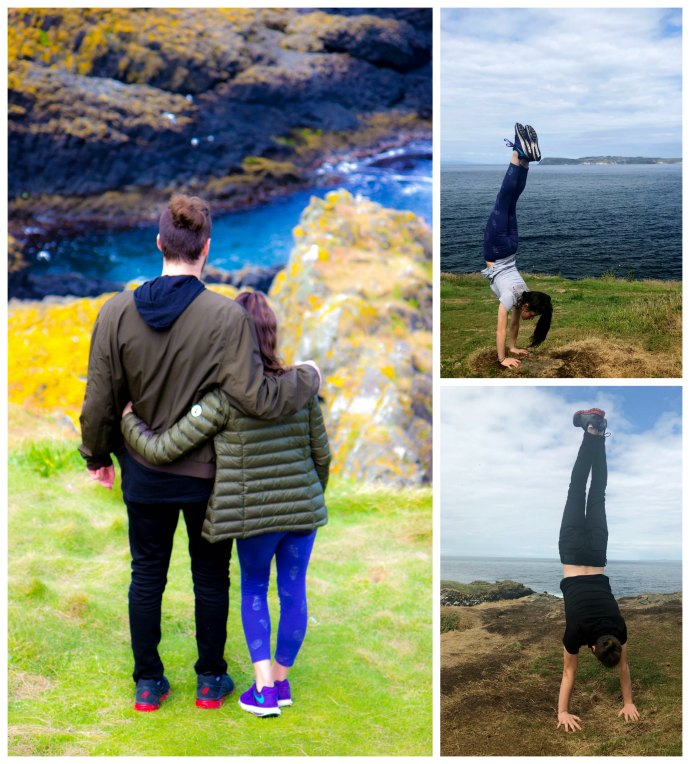 Handstands on Carrick-a-Rede island