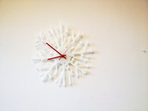 handmade glass splat clock by jenie yolland