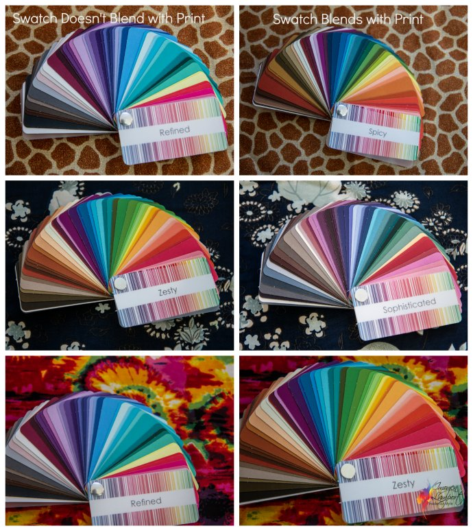 how to use your colour swatch to choose prints and patterns - examples of good choices and poor choices for different colour swatches