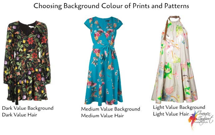 How to choose flattering prints and patterns - consider the background colour of the print and match it to your hair colour