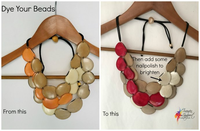 4 Easy Ways to Revamp Your Jewellery - dye natural beads with cotton or silk dye