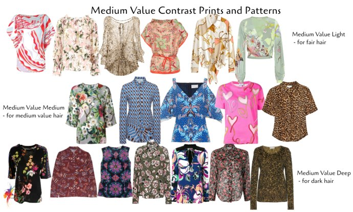 how to choose prints and patterns - medium value contrast print examples