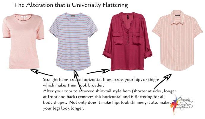 The Best Clothing Alterations Based on Your Body Shape - universally flattering hem shape