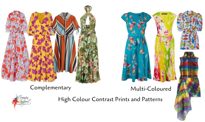 High contrast prints and patterns - complementary and multi-coloured