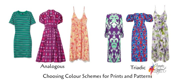 Medium contrast prints and patterns - analogous and Triadic