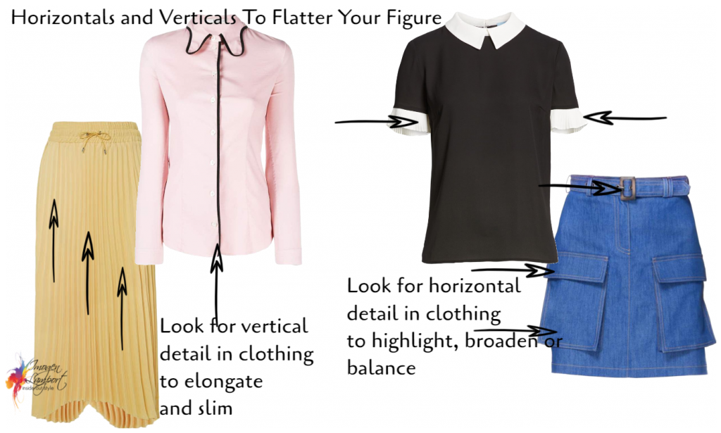 how to flatter your figure when you don't fit a standard body shape - understand how horizontal and vertical lines work in an outfit