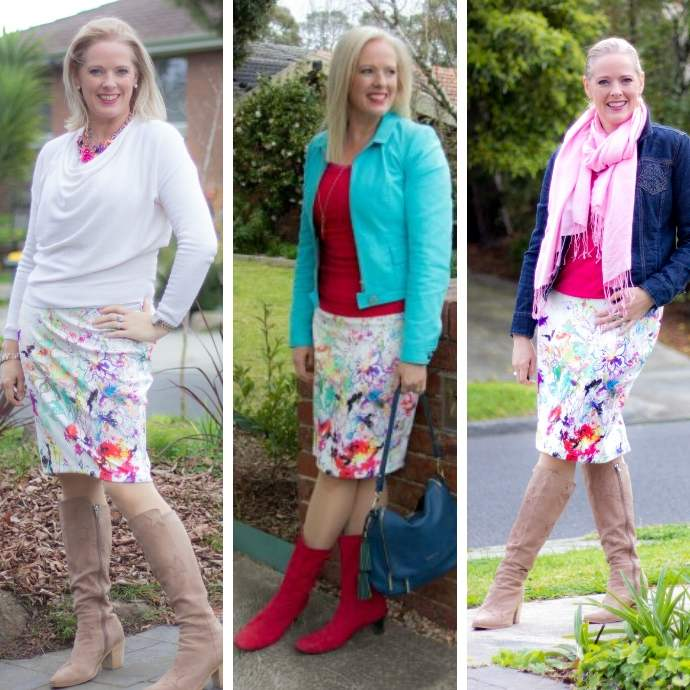 10 Reasons You Should Do a 100 Day Style Challenge - same skirt in different outfits