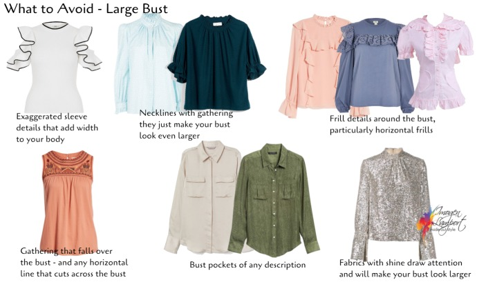 Necklines and features to avoid when you have a large bust