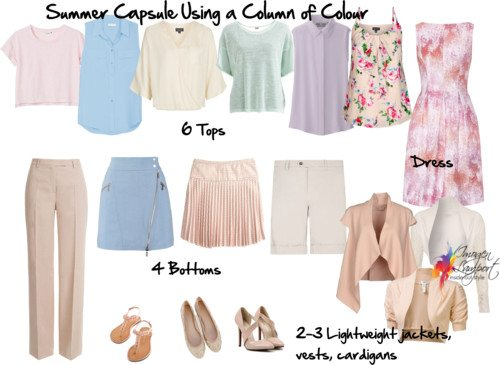 Summer capsule wardrobe using a column of colour