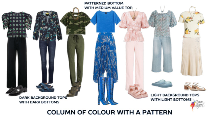 How to use a pattern in a column of colour