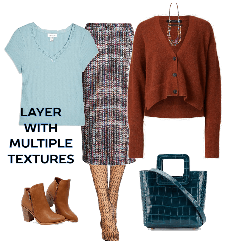 How to layer outfits - layer with multiple textures