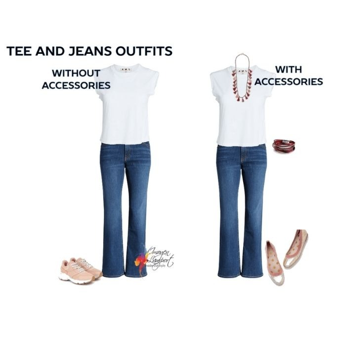 Tee and jeans outfit - make a difference with accessories to how stylish it looks