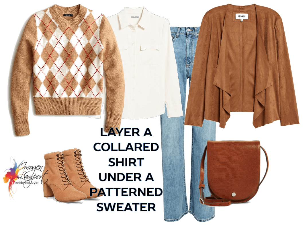 How to Layer - layer a collared shirt under a crew neck patterned sweater