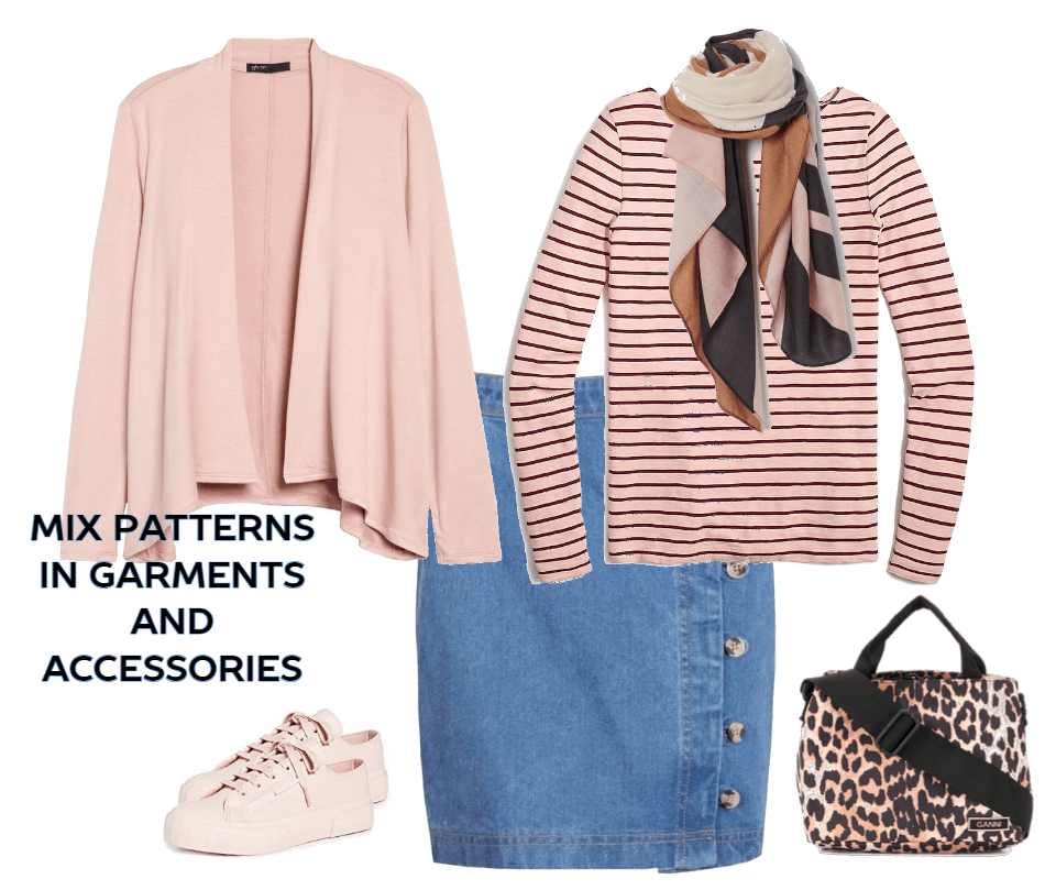 Taking the extra step to complete an outfit - mix patterns in garments and accessories