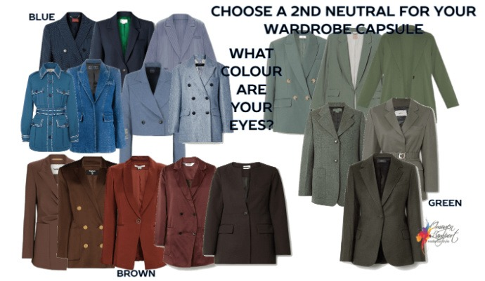 Wardrobe capsule colour scheme find a neutral that relates to your eye colour