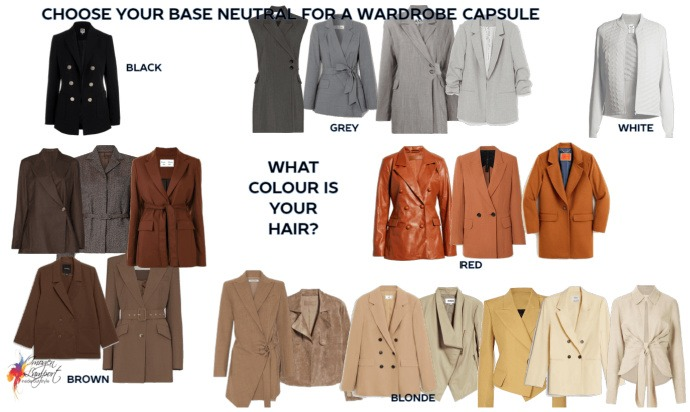 choosing neutrals for a wardrobe capsule - start with your hair colour