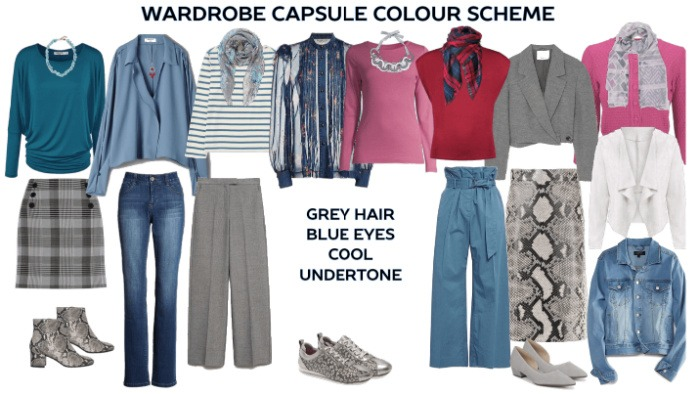 Wardrobe Capsule Colour scheme for blue eyes and grey hair