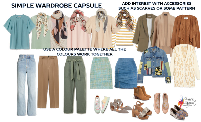 Create a simple wardrobe capsule in Intriguing colours