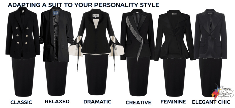 Examples of how some design changes in a jacket can change the personality dressing style of a black suit
