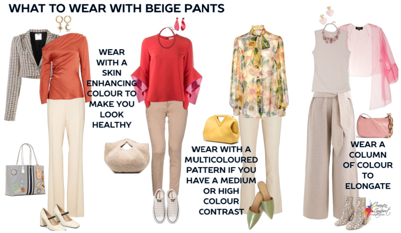 what to wear with beige pants