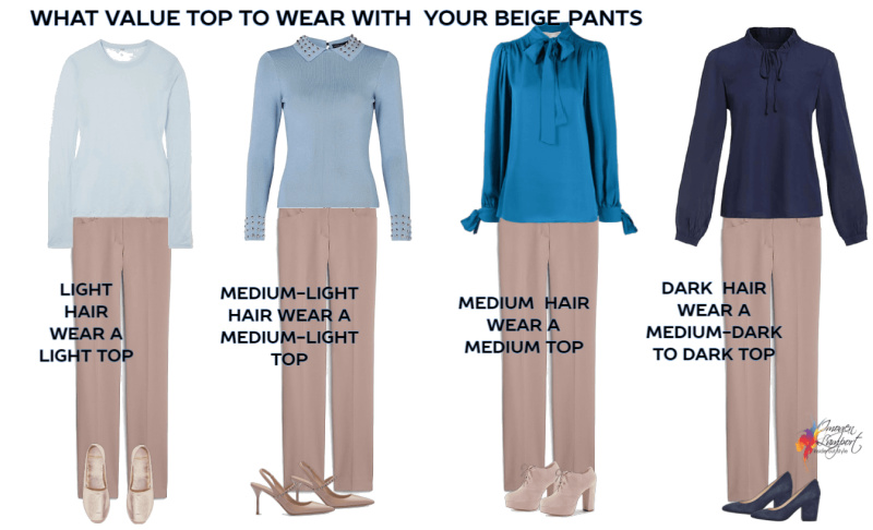 what value top to wear with beige pants
