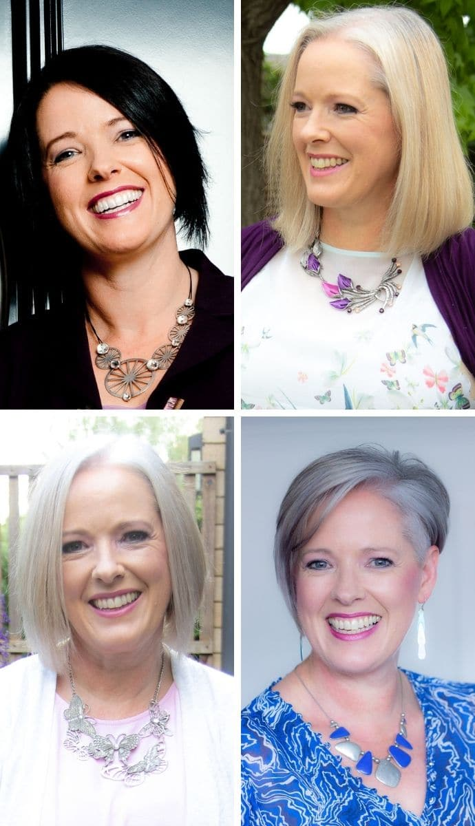 From dark brunette to blonde to grey hair Imogen Lamport Inside Out Style