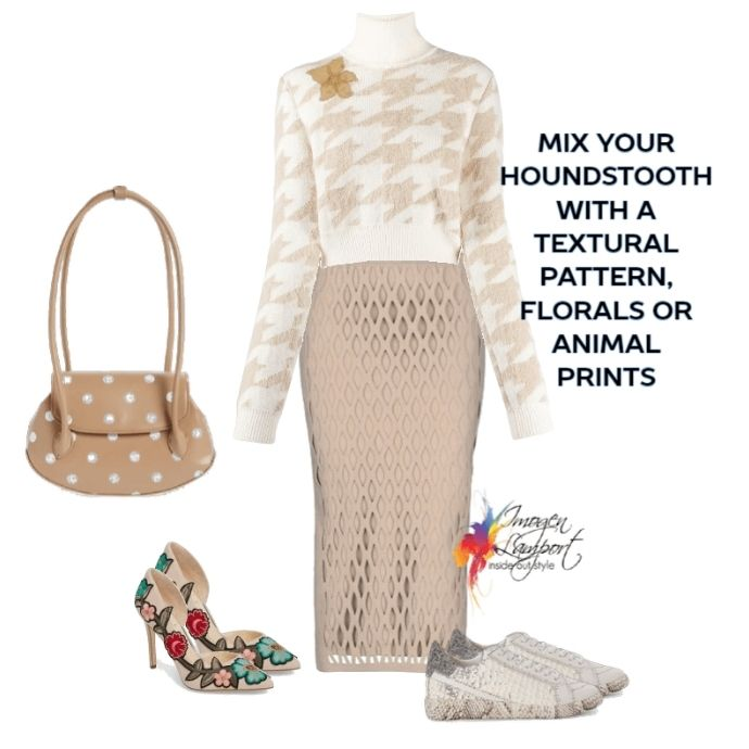 How to mix houndstooth with other prints and patterns - mix with floral, animal print, polka dots and more!