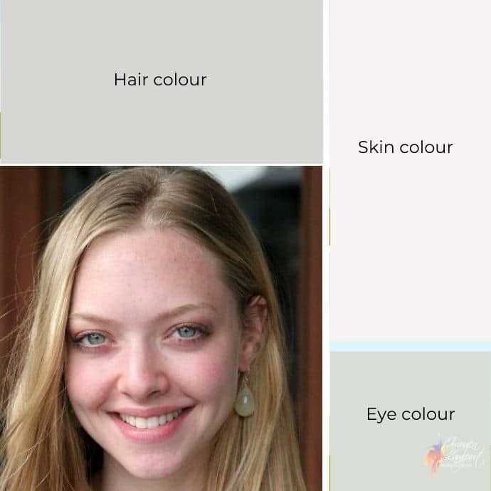 The value contrast on grey scale of Amanda Seyfried