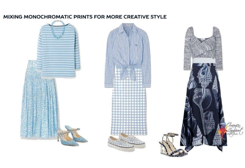 Mixing monochromatic prints for a mroe creative look