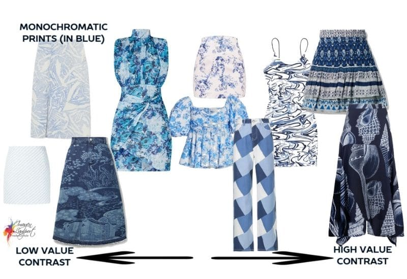 Monochromatic prints in blue and their value contrast
