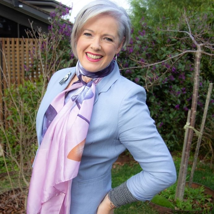 Smart casual tips swap out a cotton scarf for a silk one